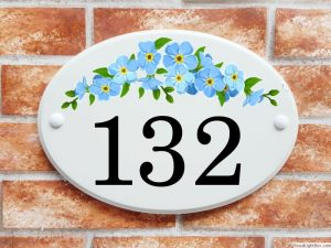 Forget me nots flowers house number plaque