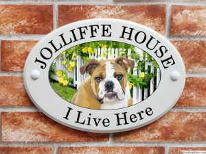 Bulldog house sign