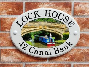 Canal boat house plaque