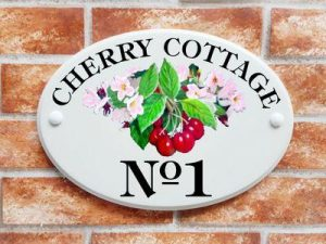 Cherries and blossom house sign