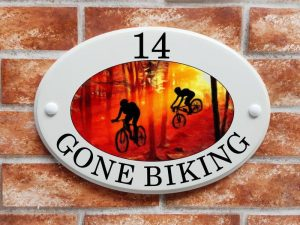Mountain bike cyclists house plaque