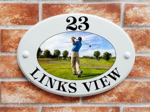 Golfer house sign