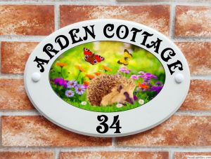 Hedgehog and butterflies house plaque