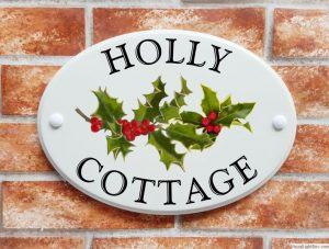 Holly with red berries house plaque
