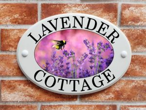 Lavender flowers and bumblebee house plaque