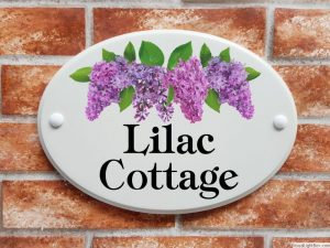 Lilac flowers house plaque