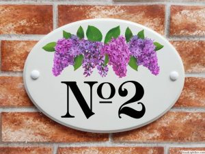 Lilac flowers house number plaque