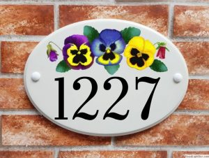 Pansies house number plaque
