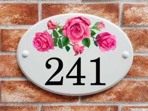 Pink roses house number plaque