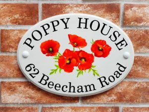 Poppy flowers house sign