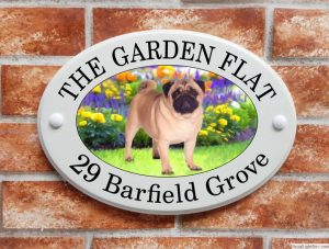 Pug dog house sign