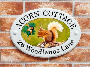 Red squirrel house plaque