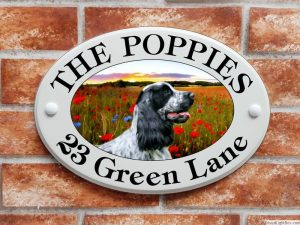 Cocker Spaniel dog house sign