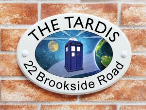 Tardis house sign