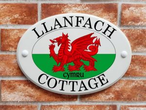 Welsh dragon house plaque