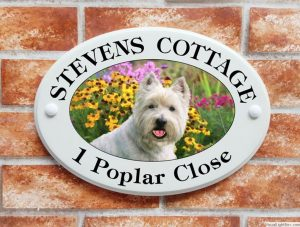 West Highland Terrier dog house sign