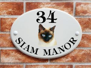 Siamese cat house plaque