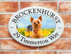 Yorkshire Terrier dog house sign